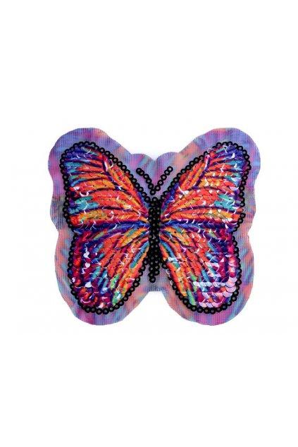 Aplikace motýl 10 x 10 cm s oboustrannými flitry L9400121