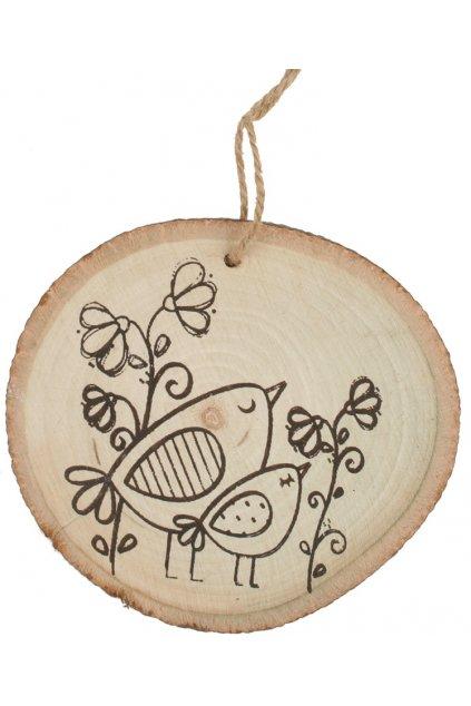 Dřevěná dekorace na zavěšení 10 cm, s ptáčky L4156