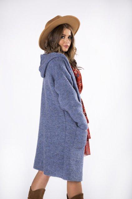 Dlouhý svetr s kapucí - modrý 82241