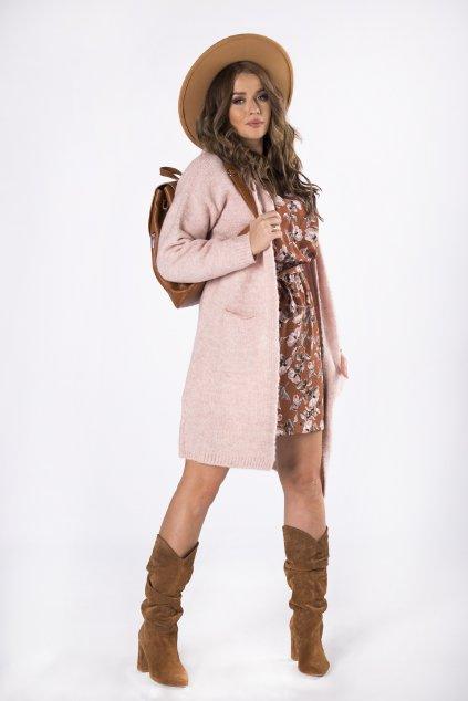 Dlouhý svetr s kapucí - růžový 82241