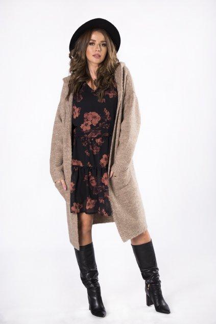 Dlouhý svetr s kapucí - béžový 82241