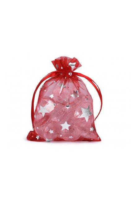 Dárkový pytlík 7x8,5 cm organza hvězda L9810683 - červená+stříbrná