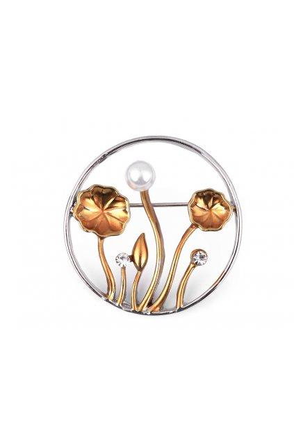 Brož s broušenými kamínky a perlou L9330955 - zlatá