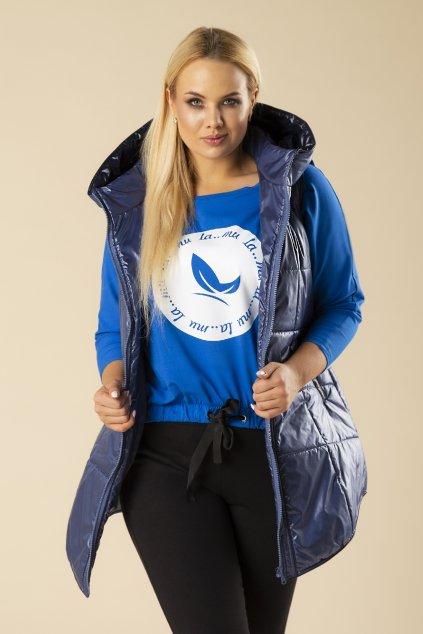 Modrá vesta s kapucí 78941