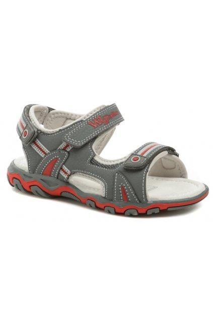 Wojtylko 3S2820 šedo červené chlapecké sandálky