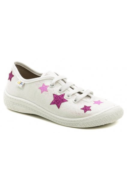 3F dětské bílo růžové tenisky s hvězdami 4BL14-4