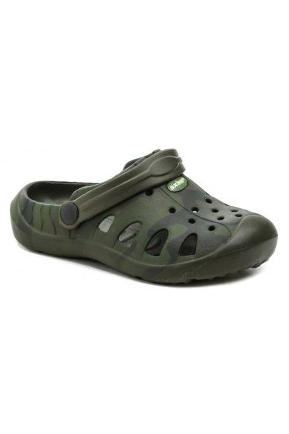 Axim 4K3805 khaki dětské nazouváky crocsy