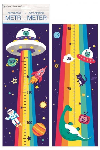 Samolepky na zeď dětský metr - duhový vesmír, do 120 cm L10295