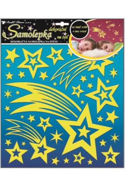 Samolepky na zeď kometa a hvězdičky s glitry svítící ve tmě 31x31cm L10094
