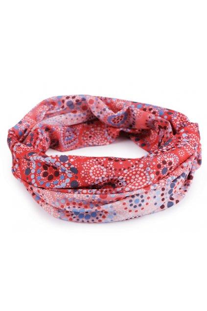 Multifunkční šátek pružný, bezešvý mandala korálová L9810473