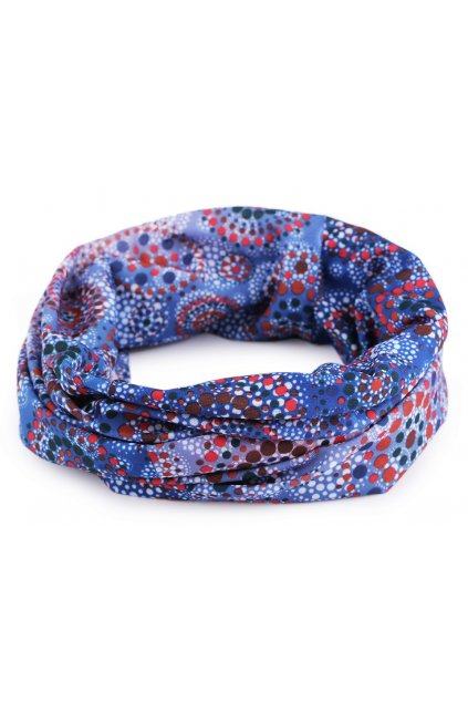 Multifunkční šátek pružný, bezešvý mandala modrá L9810473