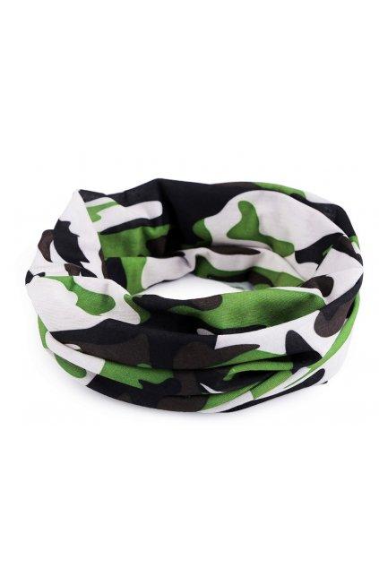 Multifunkční šátek pružný, bezešvý maskáčový zelený  L9810471