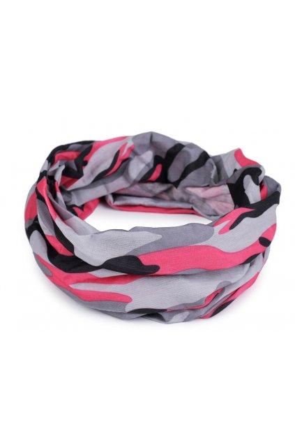 Multifunkční šátek pružný, bezešvý růžový maskáčový  L9810471