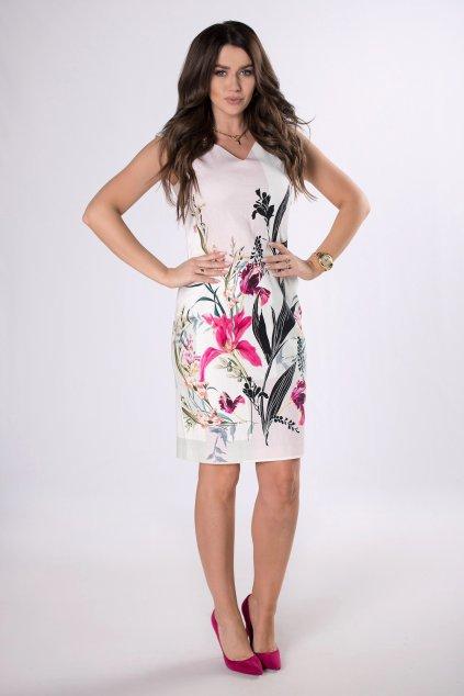 Bavlněné koktejlové šaty s květinovým motivem 83495