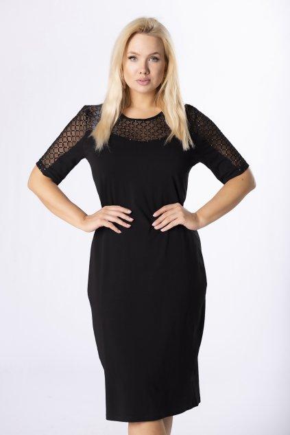 Černé šaty s originální vsadkou QHA84340