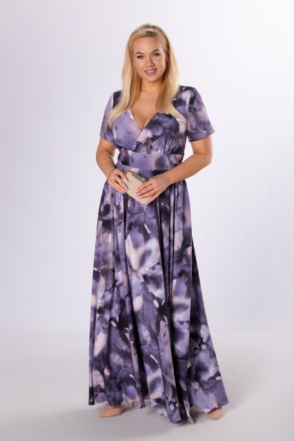 Vzorované maxi šaty střižené pod prsy QIZ84117
