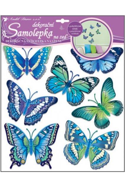 Samolepky na zeď motýli modří 30,5x30,5 cm L10163