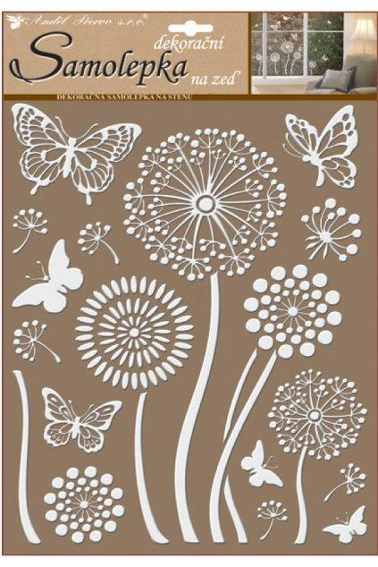 Samolepky na zeď bílé květiny s glitry 35 x 27,5 cm L10190