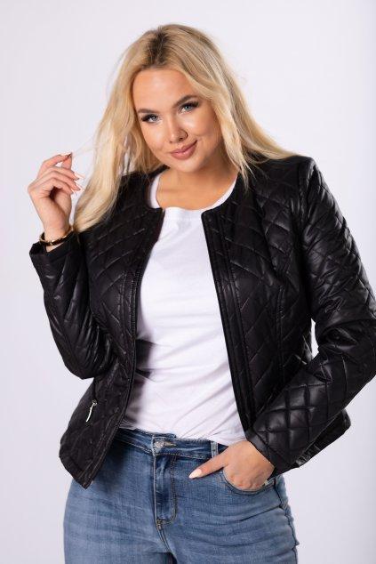 Krátká černá prošívaná bunda QHO70950