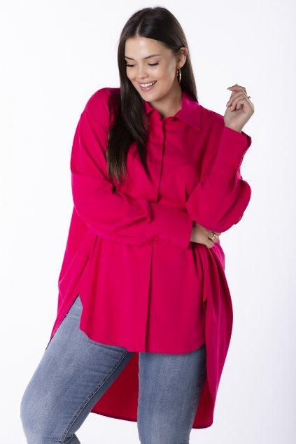 Oversize košile ze 100% bavlny - růžová QRI84935