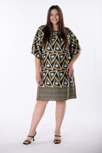 Oversize šaty s kontrastním vzorem QRO84884