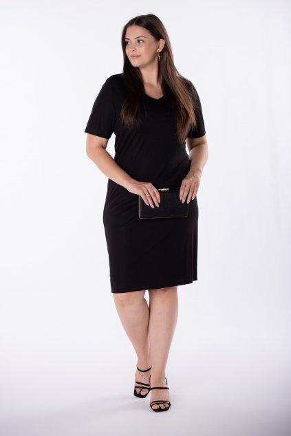 Černé šaty s výstřihem do V - QLU84877