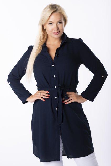 Prodloužená košile s vázáním ze 100% bavlny QSA83165