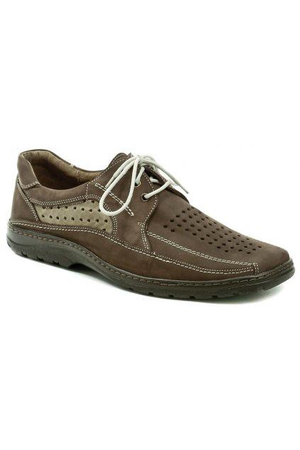 Koma 519 hnědá nubuk pánská letní nadměrná obuv