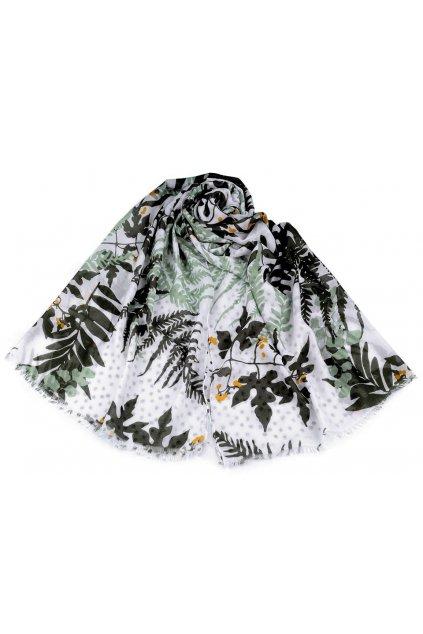 Šátek -  šála listy a kapradiny se zelenou  90 x 180 cm  L9810288