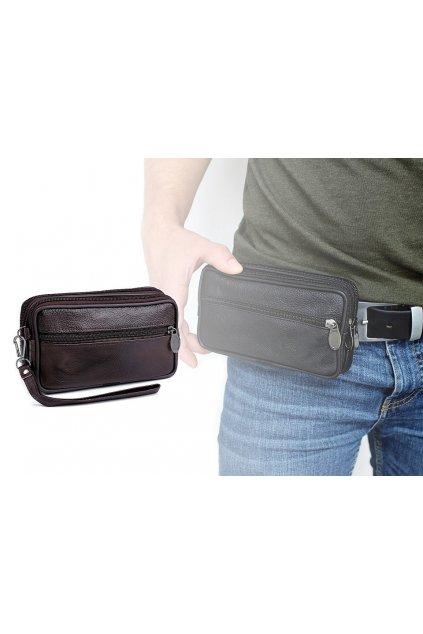 Pánské pouzdro - peněženka na opasek na mobil,  doklady, kožené 9x14 L9810688