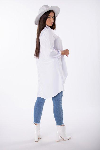 Bavlněná košile s prodlouženými zády EX MODA Q85202 - bílá (Barva Bílá, Velikost U)