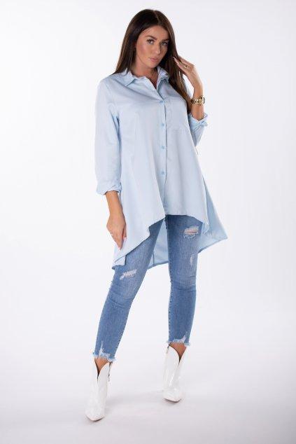 Bavlněná košile s prodlouženými zády EX MODA Q85202 - modrá (Barva Modrá, Velikost U)