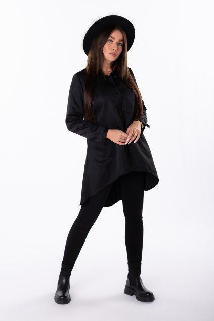 Bavlněná košile s prodlouženými zády EX MODA Q85202 - černá (Velikost U, Barva černá)