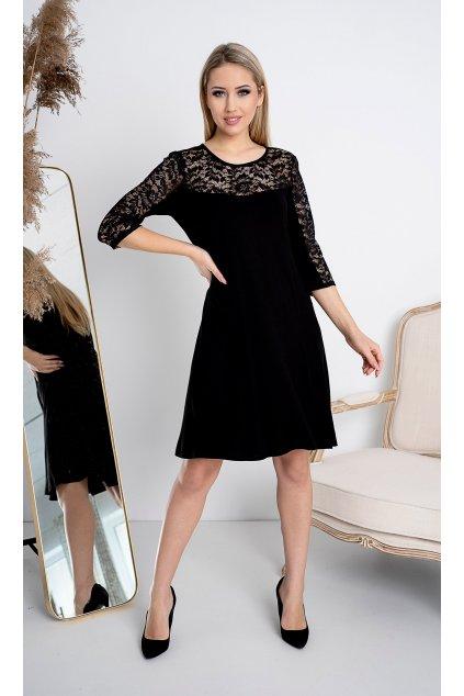 KAROLINA černé šaty s krajkou 3
