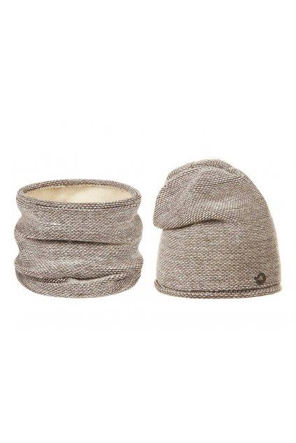 Zimní sada čepice a nákrčník  béžová, bílá  L9810416