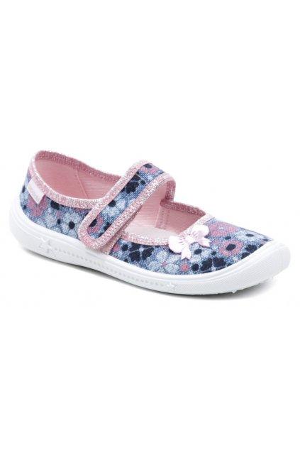 Vi-GGa-Mi dětské modro růžové baleríny Greta květ