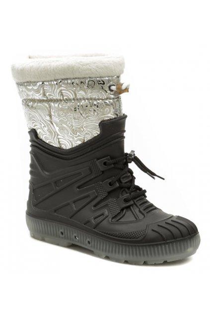 Top Lux 9523 černo stříbrné dámské sněhule