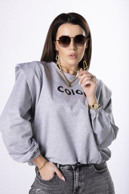 Mikina s nápisem OH MY GOODNESS Q83179 - šedá barva (Velikost U, Barva šedá)