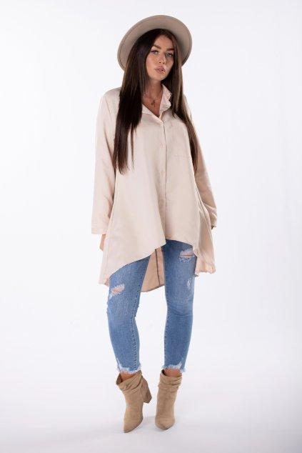 Bavlněná košile s prodlouženými zády EX MODA Q85202 - béžová (Velikost U, Barva béžová)