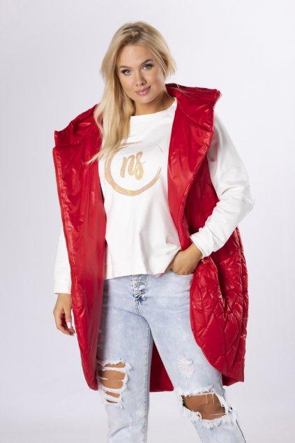 Dlouhá prošívaná vesta QDA84639 - červená