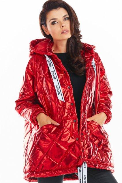 Oversize prošívaná bunda MAW149756 červená