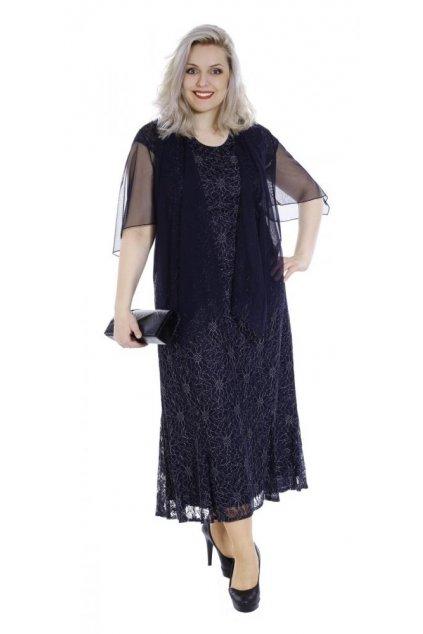PIKE - tmavě modré krajkové šaty
