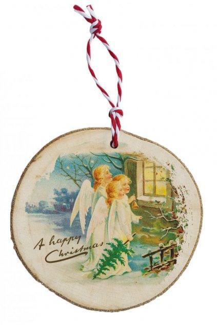 Dřevěná vánoční ozdoba - tři andílci