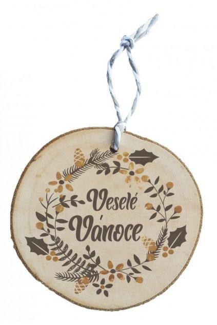 Dřevěná vánoční ozdoba - Veselé vánoce