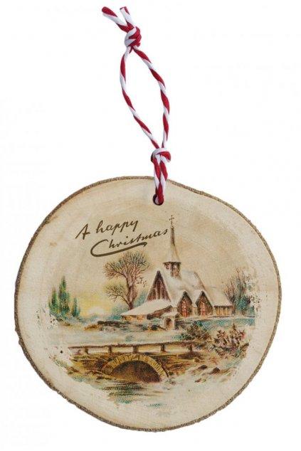 Dřevěná vánoční ozdoba - vánoční vesnice