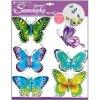 Samolepky na zeď motýli modrozelení s pohyblivými křídly 30,5x30,5cm L678