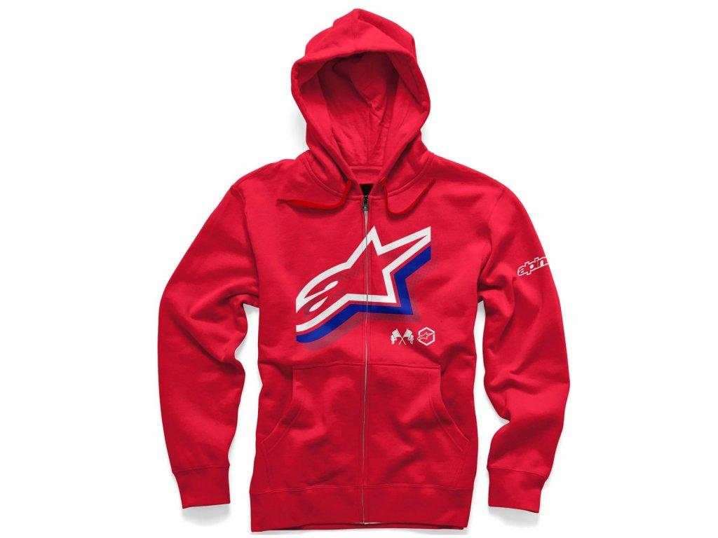 Pánská červená mikina HALOGEN ZIP HOODIE Alpinestars 1036-53012 308