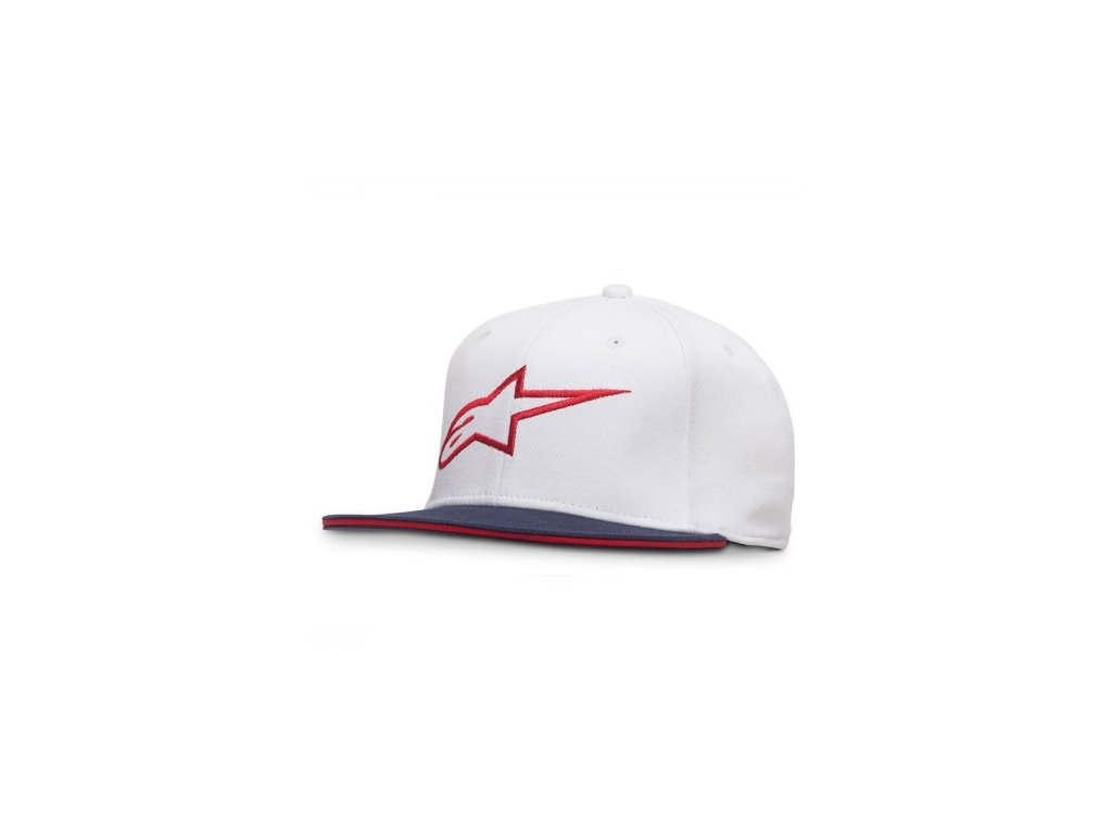Pánská bílo-červená kšiltovka AGELESS FLAT HAT Alpinestars 1035-81015 2030-M