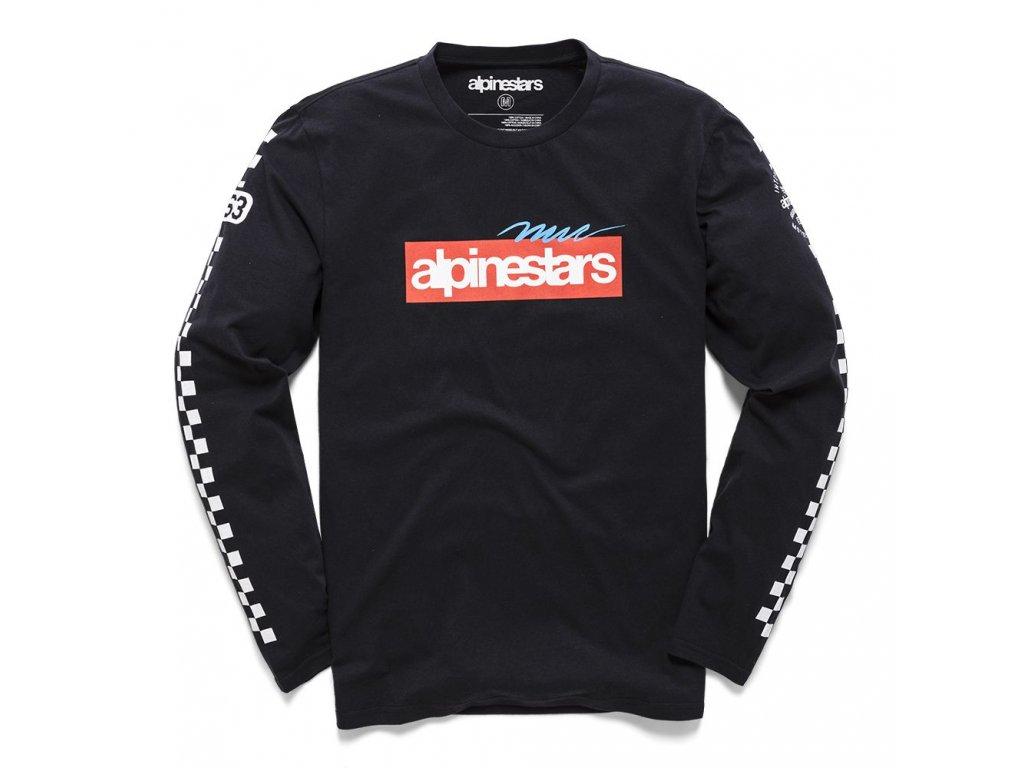Pánské černé prémiové tričko AGAIN PREMIUM LS TEE Alpinestars dlouhé 1210-71000 10