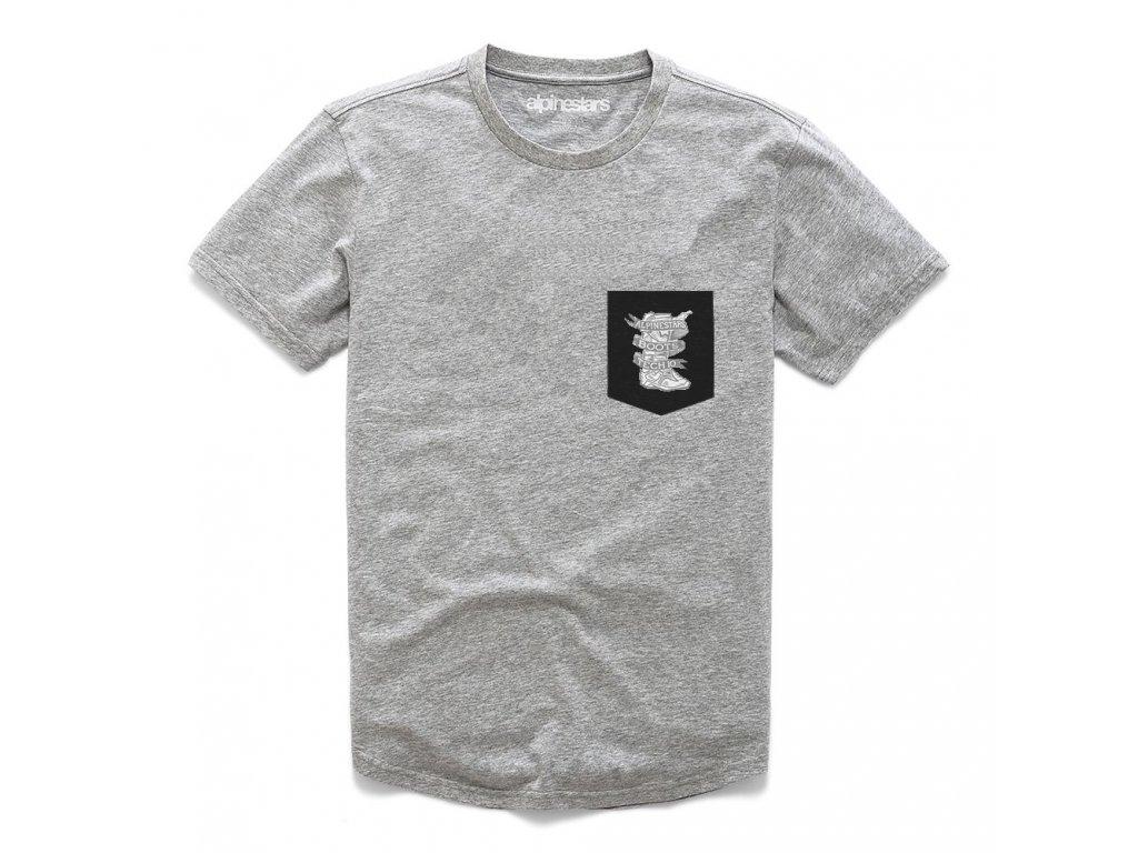 Pánské šedé prémiové tričko SERVICE PREMIUM POCKET TEE Alpinestars krátké 1210-73000 1026